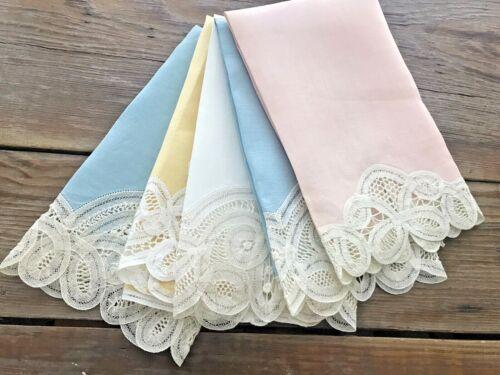 A+ 5 Lot Vintage Linen Pastel Colors Guest Hand Towels Belgium Battenberg Lace