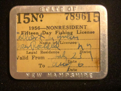 STATE OF NEW HAMPSHIRE 1956 NONRESIDENT FISHING LICENSE