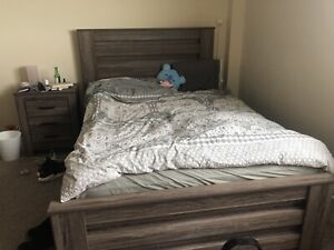 Double bed frame, night stand (and possible mattress)