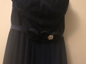Hush size 6 strapless bridesmaid gown in navy.