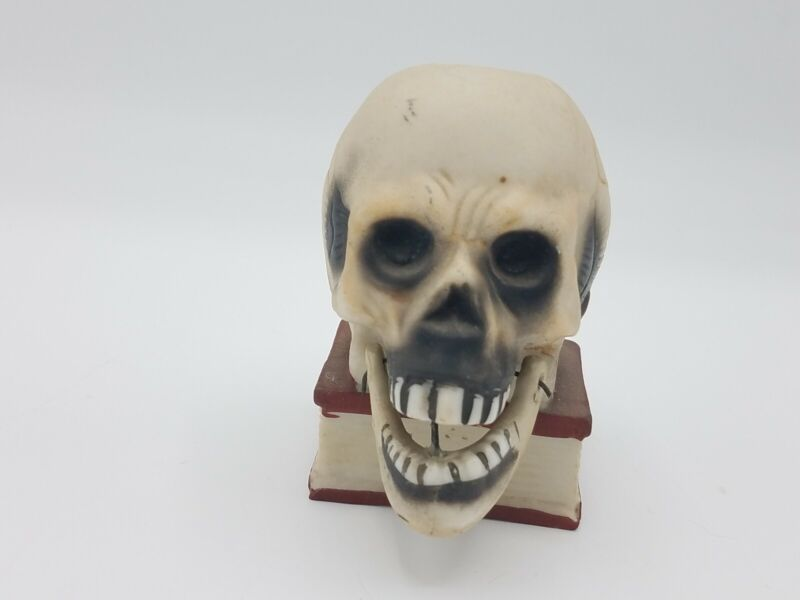 "Vintage Ceramic Skull 1940s Japan Candle Holder Halloween Jaw Moves 3"" Tall Rare"