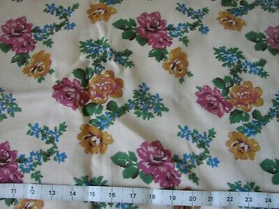 Lovely unused vintage 1940s rayon mix floral fabric length 2.5 yards x 36