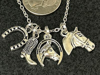 Western Horseshoe & Horse Charm Tibetan Silver with 18