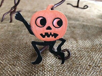 Vintage Repro Pumpkin Man Running Scared Halloween Cardstock Decoration,2 1/2