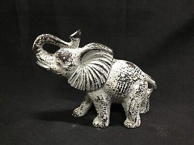 Cast Iron Antiqued White Elephant