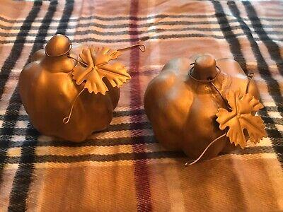 New Set of 2 Gold Ceramic Pumpkins Tabletop Autumn