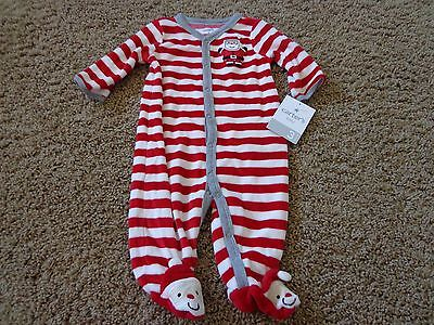CARTER'S unisex sz 3 months NWT red & white SANTA foot snap up pajamas