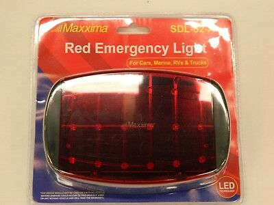 Maxxima Sdl-52a Red Emergency Light Flasher Battery Magnetic Oversize Load