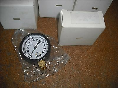 Palmer Pressure Gauge 0-60 Psi 2-12 Face Dial With 14 Npt Brass Bottom Mount