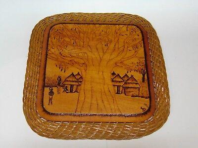 TOGO vintage 1975 African art on wood Pyrography village signed A Koussou Lome