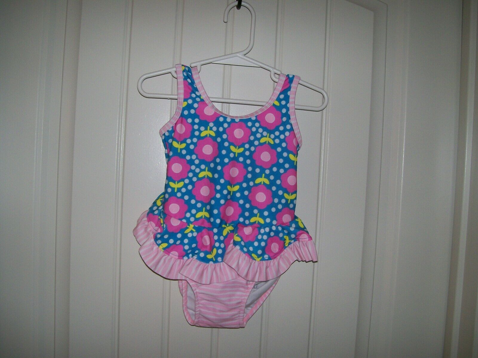 NEW! FLAP HAPPY INFANT GIRLS FLORAL STRIPED SWIMSUIT BUILT I