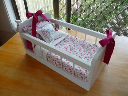 WOODEN DOLL'S COT / BED...FRESHLY DECORATED                (4)