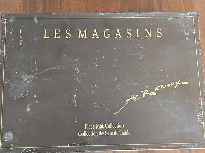 The Stores of France by Andre Renoux Cork PlaceMat Collection -6 Set 1993 in box