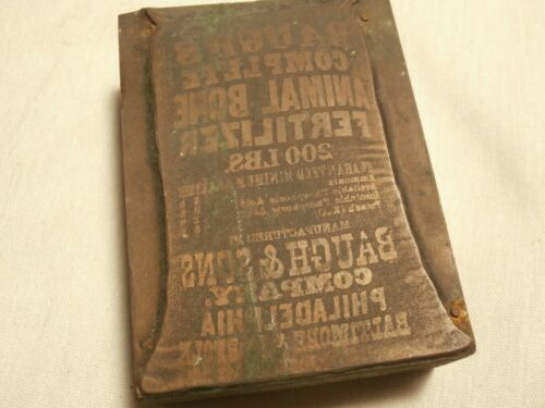 Antique Printers Printing Block Baughs & Sons Co Complete Animal Fertilizer Bag
