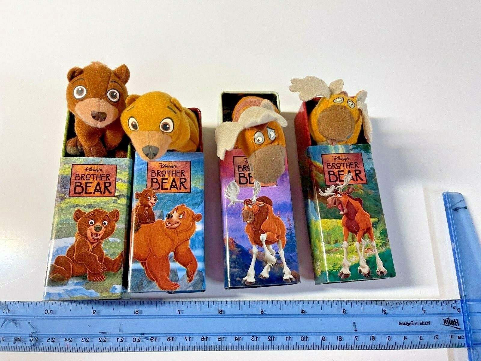 RARE BROTHER BEAR Mini Plush Figure Tiny Tins Disney Lot 4 Koda Kenai Rutt Tuke - $35.99