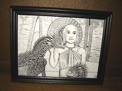 Realistic GAME of THRONES Daenerys Targaryen & Dragons ORIGINAL ART 15x11 inches