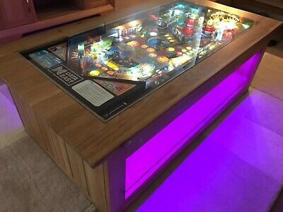 Pinball Machine Coffee Table Solid Oak Table - The Simpsons 1990 PlayField