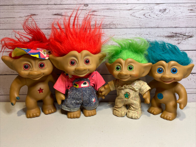 TROLL Lot of 4 Vintage ACE NOVELTY Jewel GEM BELLY BUTTON Dolls RARE