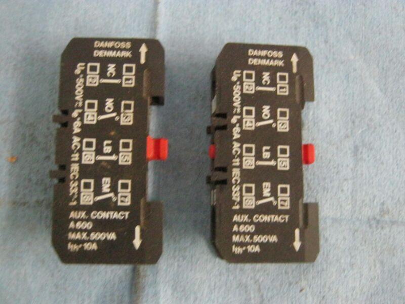 Lot of Danfoss Auxiliary Contactors.  A600, Max. 500VA. Red Reset.   Qty. 2.  <