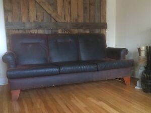 Plum Leather Couch
