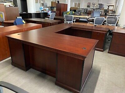 Executive U-shape Desk By Kimball Office Furniture In Mahogany Wood