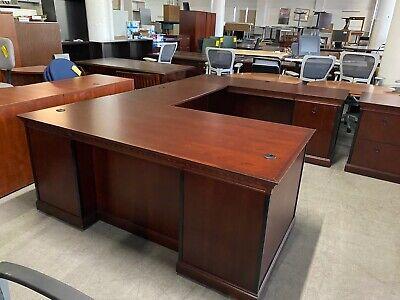 6x9 Executive U-shape Desk By Kimball Office Furniture In Mahogany Finish Wood