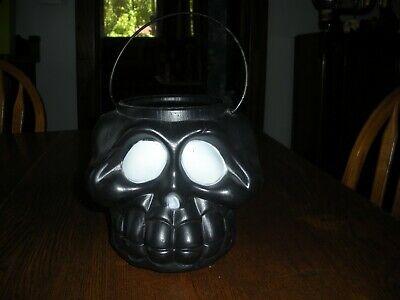 vintage Blow Mold Halloween treat pail black skeleton skull bucket USA RARE