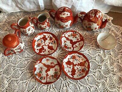 Vintage Oriental Kutani Tea Set 4x Plates 1x Jug 2x Tea Pot 1x Small Bowl 2x Jug