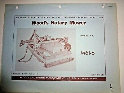 Woods M61-6 Rotary Mower Cutter Operators Owners Parts Manual Catalog 362