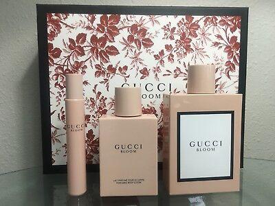 Gucci Bloom Perfume Women 3PC Gift Set Edp Spray 3.3 OZ + B/L + Mini New In Box - Gucci Gift Set Spray