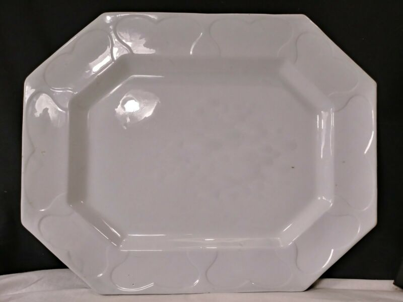 1850 GIANT Service Platter Antique White Ironstone China Barrow & Co.~ HEARTS