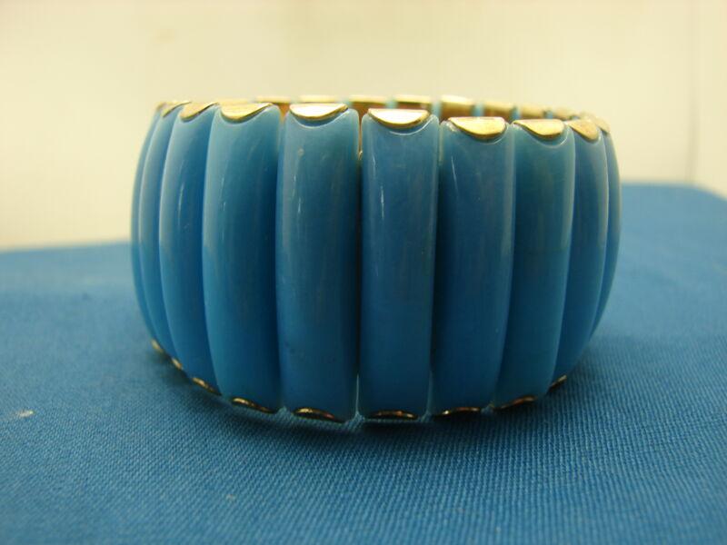Vintage Wide Blue Plastic Panel Expansion Bracelet