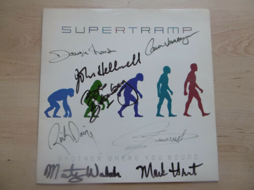 """Supertramp Autogramme signed LP-Cover """"Brother Where You Bound"""" Vinyl ACOA"""