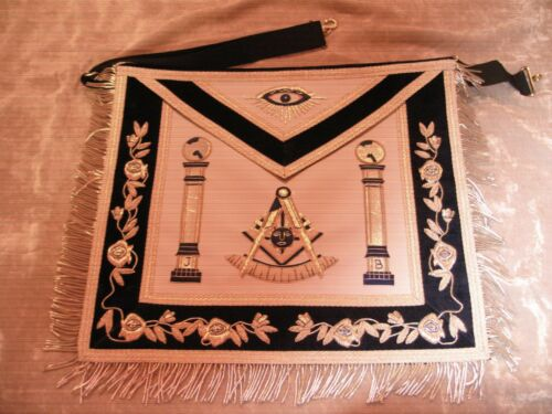 Past Master Masonic Silver Bullion Apron w/ Square & Apron Case NEW!