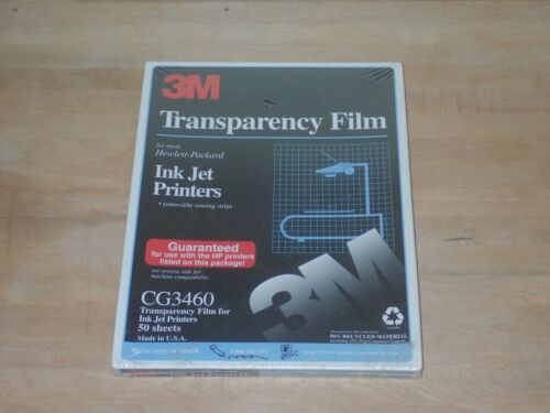 NEW 3M CG3460 Transparency Film 50 Sheets HP Color Ink Jet Printers 8.5x11 NOS