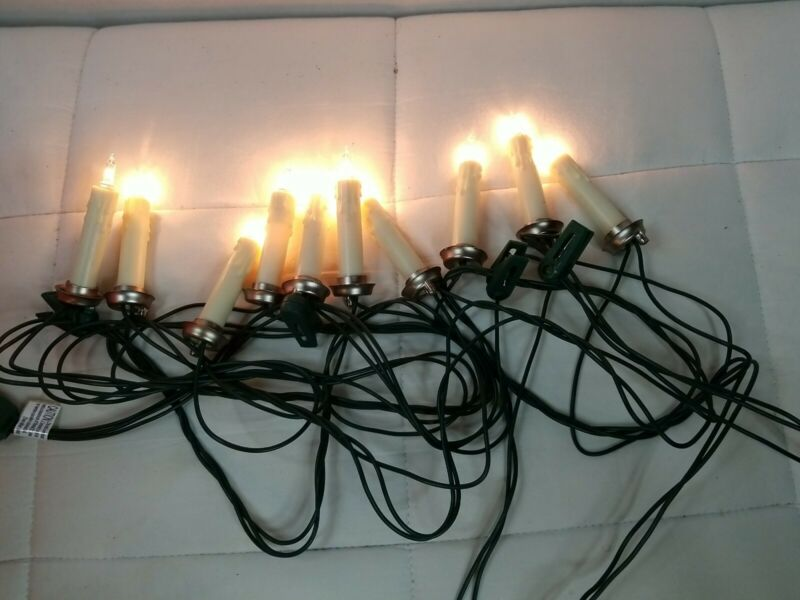 Vintage 10 Drip Candle Accent Christmas Tree Lights Clip On String Set 13