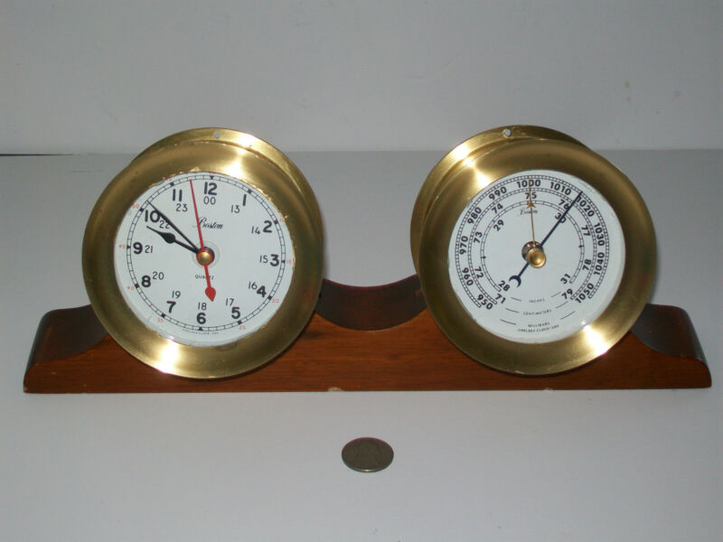 Vtg Boston Chelsea Brass Wall Mount Quartz Clock & Barometer w/ Wood Cradle 1984