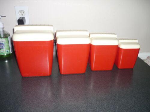 VINTAGE RED PLASTIC CANISTER SET BURROUGHS Mid Century Retro