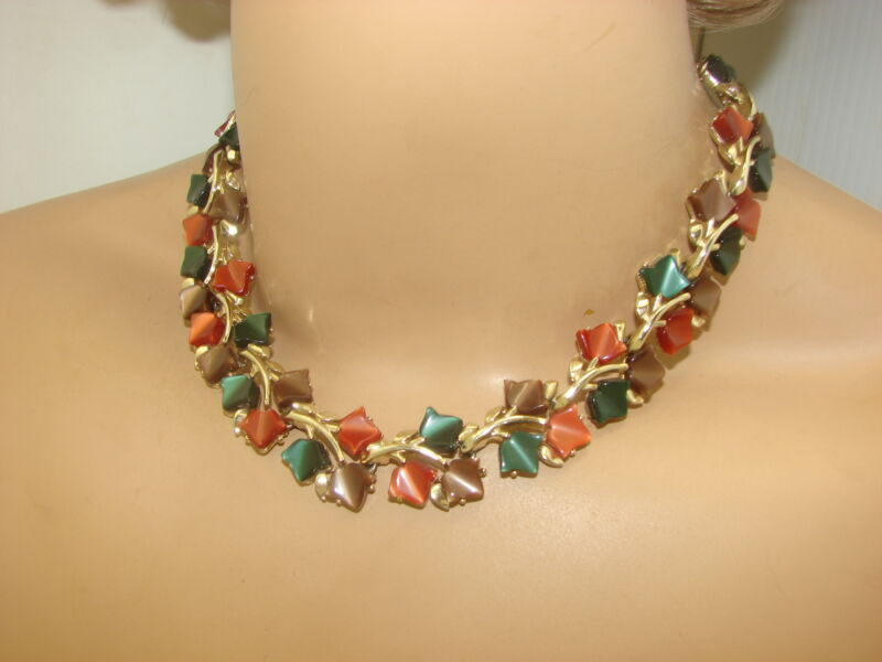 Vintage Fall Colors Gold Tone Moon Glow Thermoset Leaf Necklace