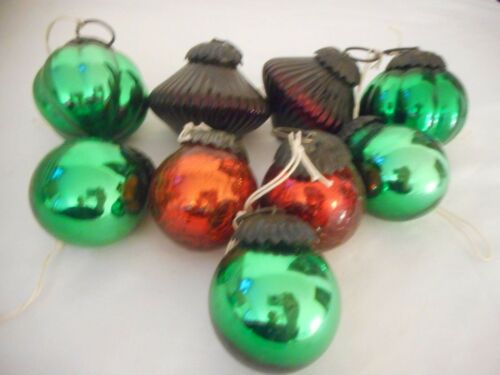 Lot of 10 Vintage Kugel Style Ornaments Green Red Crackle Glass Made in India