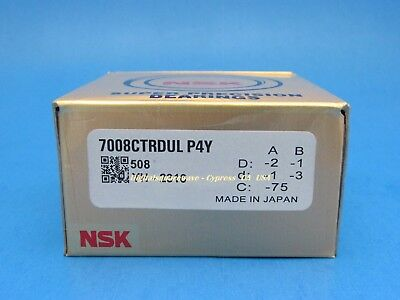 Nsk 7008ctrdulp4y Abec-7 Super Precision Spindle Bearings. Set Of Two