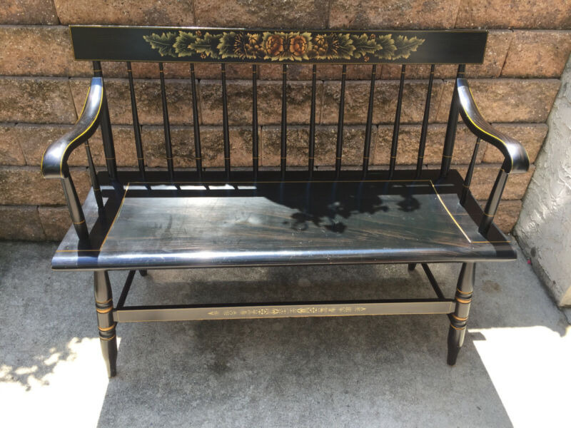"L. HITCHCOCK BLACK PAINT DECORATED BENCH/DEACONS BENCH 45"" long"