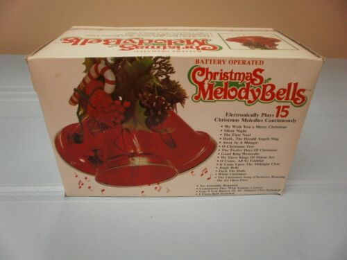 VINTAGE CHRISTMAS MELODY BELLS W/ORIGINAL BOX PLAYS 15 MELODIES - 3 BELLS LIGHTS