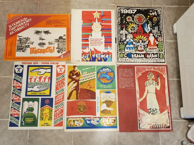 Set Of Six Vintage Russian Propaganda Posters