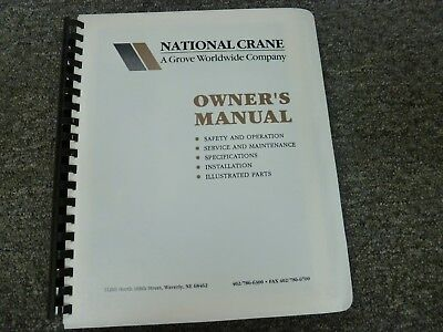 National N-205 Crane Parts Catalog Owner Operator Shop Service Repair Manual
