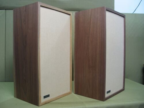 Large Advent Speakers ( Solid Black Walnut Cabinets) Pro Re-Foamed