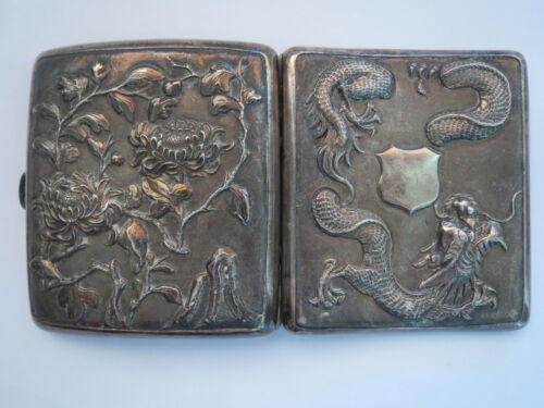 Chinese cigarette case export silver with Dragon and Flowers signed WC 90 102 gr