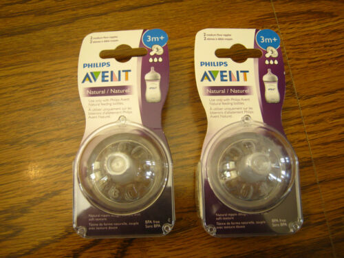 2 ~ Two-Pack Philips Avent Natural Nipples Medium Flow 3M+ SEALED  4 Total