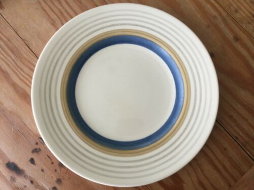 "SUSIE COOPER Wedding Rings Tan & Blue 10"" Diameter Dinner PLATE ENGLAND"