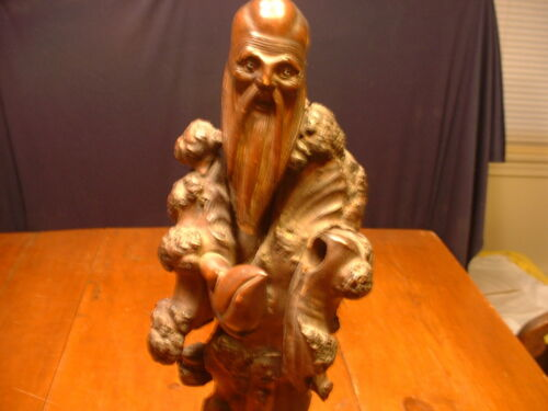 Antique 3 Piece Root Wood Carving Of A Japanese Immortal